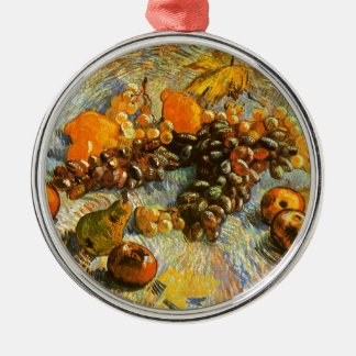 Still Life with Apples, Pears, Grapes - Van Gogh Silver-Colored Round Ornament