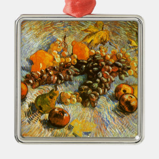 Still Life with Apples, Pears, Grapes - Van Gogh Silver-Colored Square Ornament