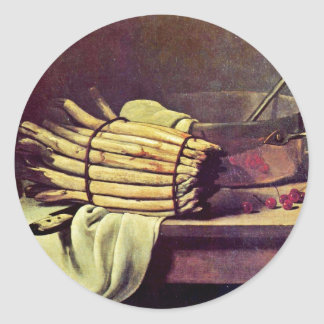 Still Life With Asparagus By Bonvin François Classic Round Sticker