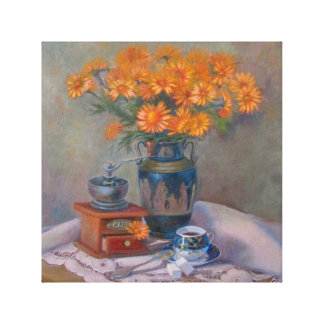 Still life with blue cup canvas print