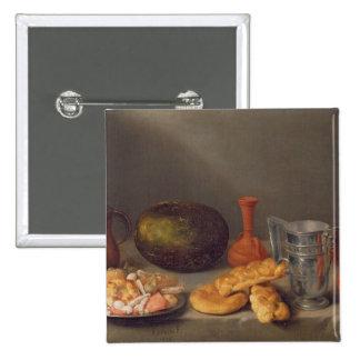 Still life with bread, 1648 2 inch square button