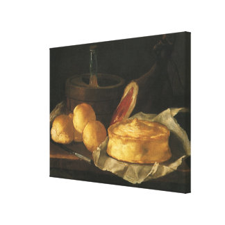 Still Life with Bread Tart and Ham, Giuseppe Recco Canvas Prints