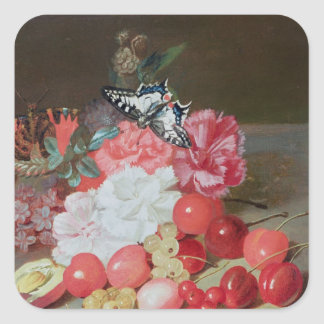 Still Life with Butterflies Square Sticker