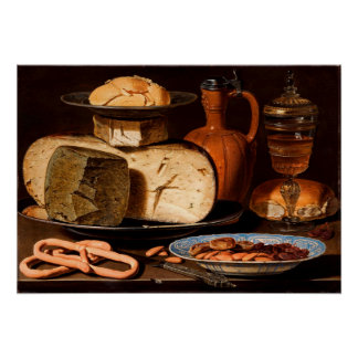 Still Life with Cheeses, Almonds and Pretzels Poster