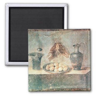 Still life with eggs and thrushes square magnet