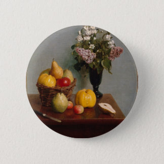 Still Life with Flowers and Fruit 2 Inch Round Button