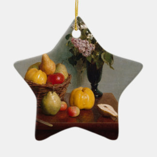 Still Life with Flowers and Fruit Ceramic Ornament