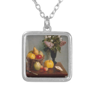 Still Life with Flowers and Fruit Silver Plated Necklace