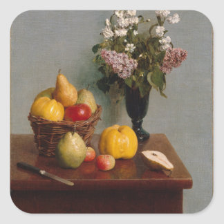 Still Life with Flowers and Fruit Square Sticker