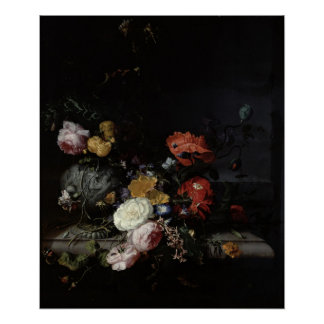 Still Life with Flowers and Insects Poster