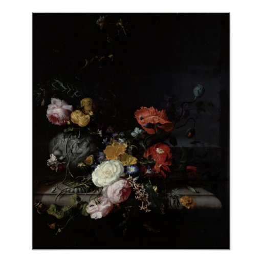 Still Life with Flowers and Insects Posters