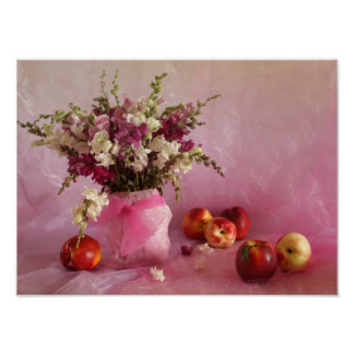 Still life with flowers and peaches print