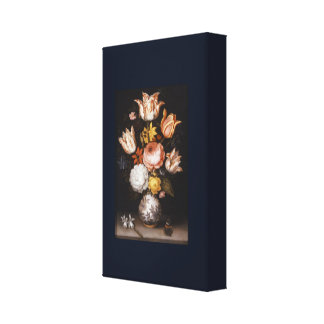 Still Life with Flowers in a Porcelain Vase Canvas Print