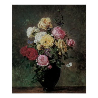 Still Life with Flowers in Vase by Olaf Hermansen Poster