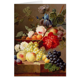 Still life with fruit and flowers card