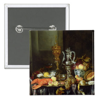 Still Life with Fruit and Shellfish 2 Inch Square Button