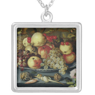Still Life with Fruit, Flowers and Seafood Silver Plated Necklace