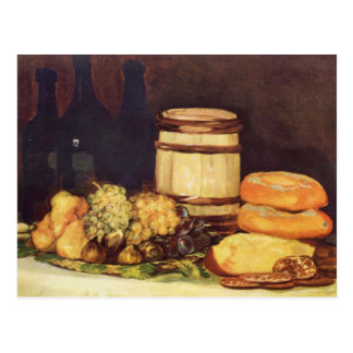 Still life with fruits, bottles, breads - Goya Postcard