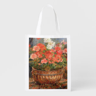 Still life with geraniums in a bronze bowl, 1880 market totes