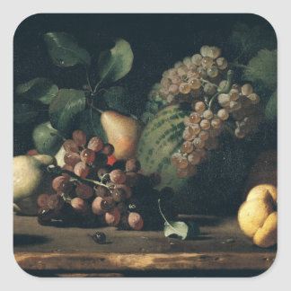 Still Life with Grapes and Pomegranate Square Sticker