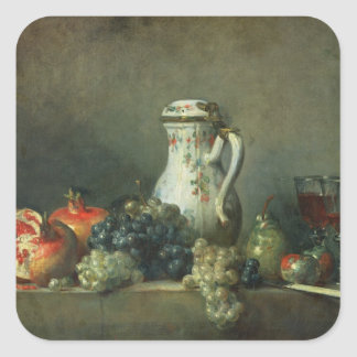 Still Life with Grapes and Pomegranates, 1763 (oil Square Sticker
