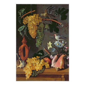 Still Life with Grapes, Birds and flowers Poster