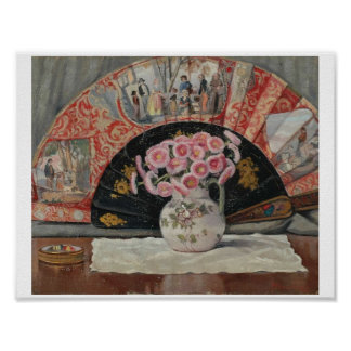 Still Life with Hand Fan by Ernest Moulines (1870- Poster