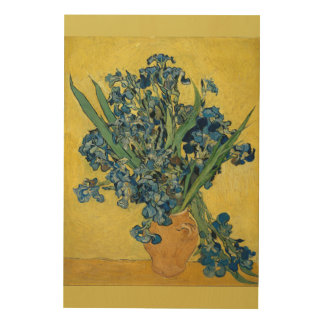 Still Life with Irises Against a Yellow Background Wood Print