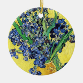 Still Life with Irises Vincent van Gogh Round Ceramic Ornament