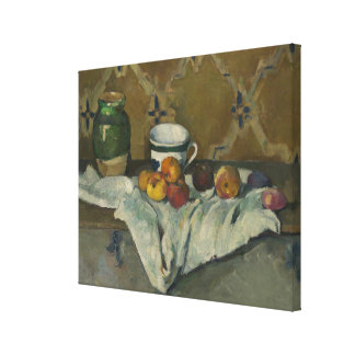 Still Life with Jar, Cup, and Apples Canvas Print