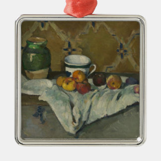 Still Life with Jar, Cup, and Apples Metal Ornament
