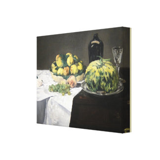 Still Life with Melon and Peaches by Edouard Manet Canvas Print