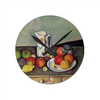 Still life with milk jug and fruit, c.1886-90 (oil wall clocks