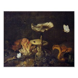 Still Life with Mushrooms and Butterflies Poster