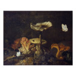 Still Life with Mushrooms and Butterflies Posters