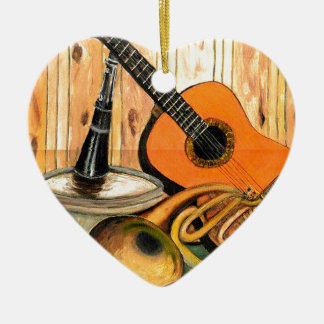 Still Life with Musical Instruments Ceramic Heart Ornament