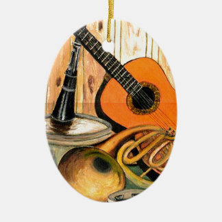 Still Life with Musical Instruments Ceramic Oval Ornament