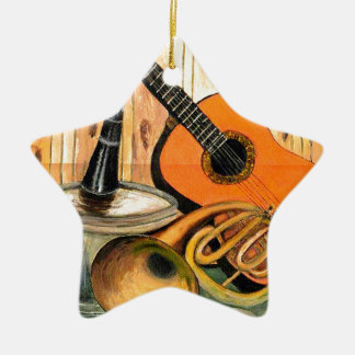 Still Life with Musical Instruments Ceramic Star Ornament