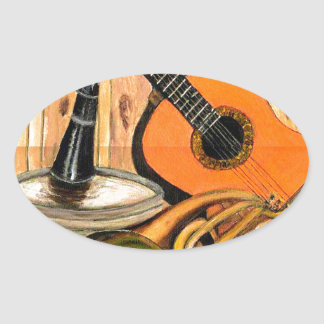 Still Life with Musical Instruments Oval Sticker