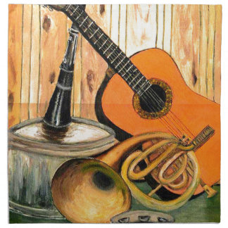 Still Life with Musical Instruments Printed Napkins