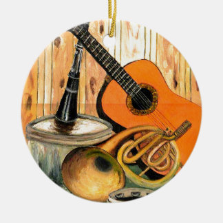 Still Life with Musical Instruments Round Ceramic Ornament