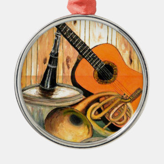Still Life with Musical Instruments Silver-Colored Round Ornament