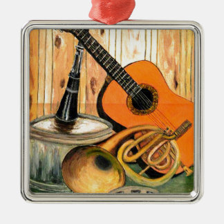 Still Life with Musical Instruments Silver-Colored Square Ornament