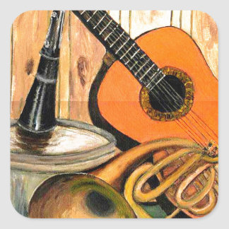 Still Life with Musical Instruments Square Sticker