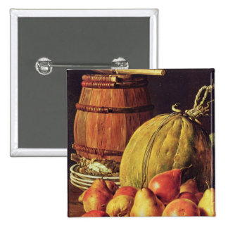 Still Life with pears, melon and barrel 2 Inch Square Button