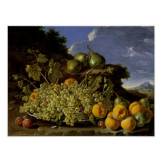 Still life with Plate of Grapes, Peaches, Pears Poster