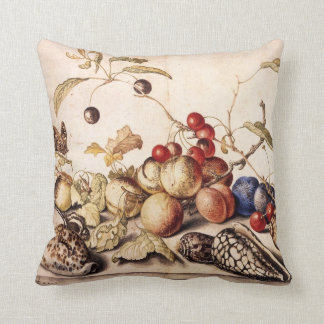 Still Life with Plums, Cherries and Shells Throw Pillow