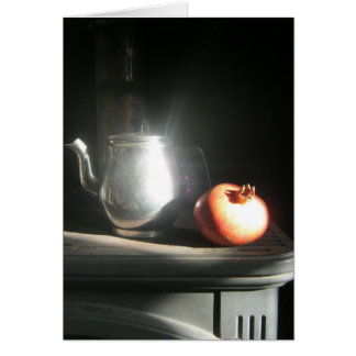 Still Life With Pomegranate and Tea Pot in Sunshin Greeting Card
