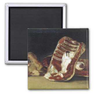 Still life with ribs, steak and lamb's head - Goya Square Magnet