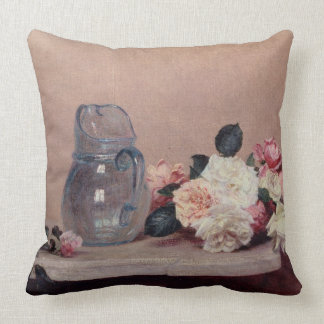 Still Life with Roses, 1889 (oil on canvas) Throw Pillow